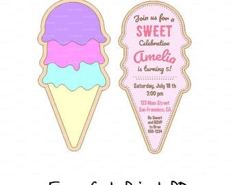 Ice cream invitation SVG file, sweet beach summer Princess Cinderella  (svg, dxf, Studio V3) laser cut template Silhouette Cameo Cricut