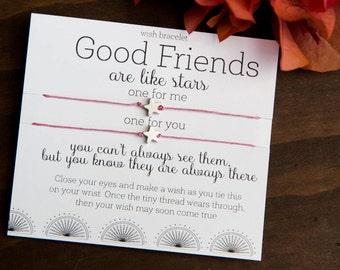 Good Friends Are Like Stars Wish Bracelet, Friendship Bracelet, Birthday Card, Make a Wish, Gift for Friend, Stars, Set Of Two Bracelets