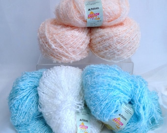 Cotton Yarn  Patons Cotton Cooler Yarn Vintage Susan Bates Cotton White Blue & Orange Yarn for Weaving Fiber Art and Knitting and Crocheting