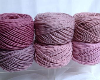 XL Yarn Cakes for Crochet Flowers Shades of Dusty Rose Yarn Bundle Hudson Bay Worsted Yarn for Handmade Accessories & Fiber Art Projects