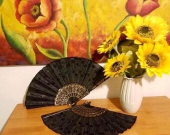 Black Japanese Fan- Wedding Hand Fan *FREE SHIPPING!*