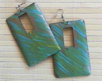 Wood earring *Personally Painted By ThaSun.....    Every piece is One Of A Kind