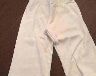 Ivory Cream Off-white Organic Cotton Baby Clothes Plain Pants Slacks Size 3-6mo