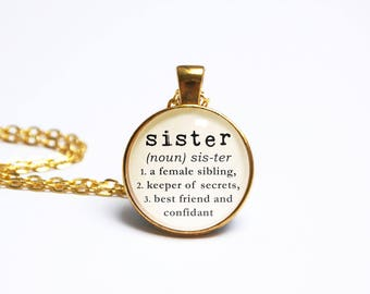 Sister Necklace Definition Pendant Typewriter Dictionary Book Jewelry Jewellery Literary Gift  Friend Birthday The Locket Library