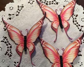 Firefly Black Matte Glass Bodied Butterflies DarlingArtByValeri Set for Scrapbooking Embellishment Mini Albums Cards Wedding Gifts