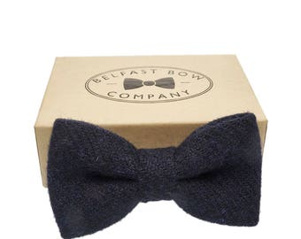 Handmade Harris Tweed Bow Tie in Navy - Adults & Boy's sizes Available