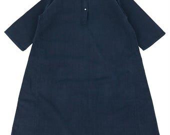 German antique indigo linen dress/Germany/over-dye indigo blue/half sleeve/A line/long dress/271