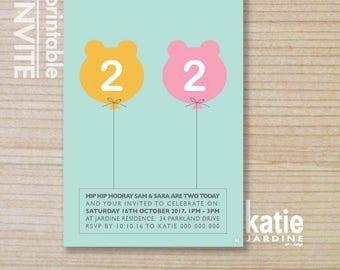 twin invitation - kids invitation  - printable invitation - bear balloon - girl and boy invite - teddy bear