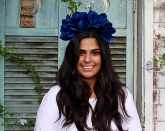 Classic Blue Flower Crown Headpiece - Frida Kahlo - Wedding - Burning Man - Goth - Day of the Dead - Sugar Skull - Coachella - Carnival