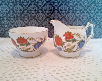 """Vintage Creamer and Open Sugar Bowl Set by Aynsley, """"Famille Rose"""" Pattern, Red and Blue Floral, Gold Trim, Circa 1970s"""