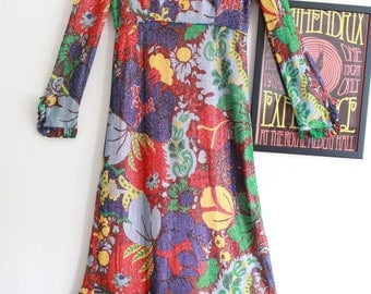 Vintage floral disco psychedelic Susan Small 70s metallic gypsy maxi dress M boho