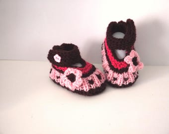 Babies booties baby shoes 0/1 month birth Plum Flower Pink Shoes