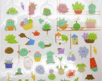 Succulent stickers, Japanese stickers, terrarium stickers cactus stickers garden sticker kawaii stickers cute plant sticker planner stickers