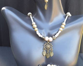 Pearl and Leaf Jewelry Set