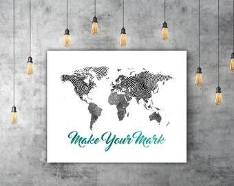 Travel World Map Art Print, Black And White Art, Fingerprint Art, World Print, Map Wall Art, Traveller Wanderlust Gift, Thumbprint Art