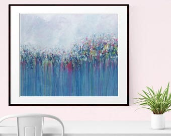 Abstract Painting , Abstract flowers , Giclee Print , Fine Art Print , Modern Wall Art , Original Art , Contemporary Flowers , Blue Abstract