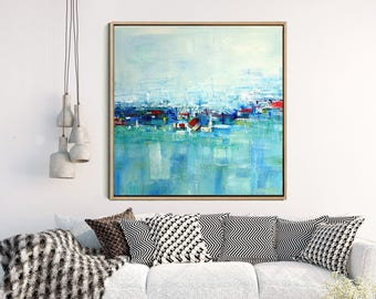 Abstract Painting, Giclee Print,  Modern Wall Art,  Contemporary Seascape,  Blue Green Abstract