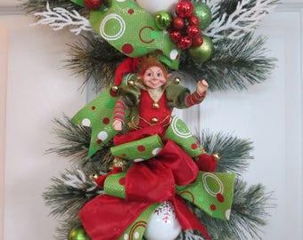 Elf wreath, Christmas Wreath, Christmas swag, Front Door Swag, Front door wreath, Elf front door ,