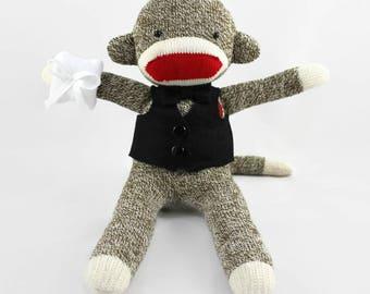 Ring Bearer Sock Monkey Doll, Ring Bearer Gift, Ring Bearer Gift Ideas for Boys, Ring Security, Ring Bearer Bear, Ring Bearer Teddy
