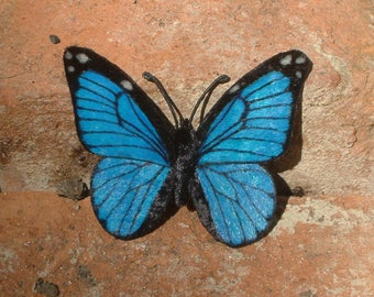 Realistic chenille-velvet hand-painted butterfly available as hair barrette, magnet or pin