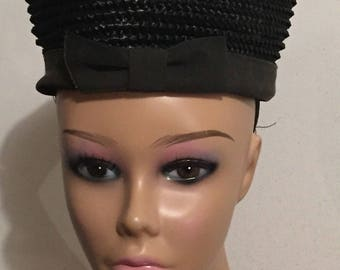 Vintage Hat Women's Hat By Modern Miss Jr Black Straw Pill Box Hat With Bow Retro Size 22