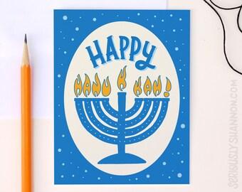 Hanukkah Card, Happy Hanukkah, Cute Hanukkah Card, Fun Hanukkah Card, A2 Greeting Card
