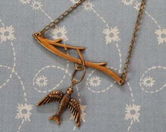 Swallow on the Wing Charm Pendent Necklace