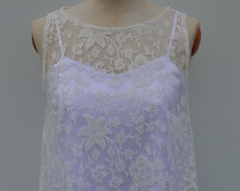 Top Bridal lace, ecru lace, lace wedding cover-up top blouse lace ecru wedding ecru top wedding, bride white tank