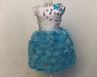 Blythe roses couture dress sequins beads