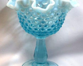Beautiful Vintage Fenton Blue Opalescent Hobnail Glass Compote Candy Dish Vase