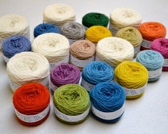 Naturally Dyed Fylgje Knitting Kit - yellow, green, red, purple, blue
