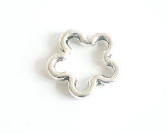 Intercalaire forme fleur en métal argenté