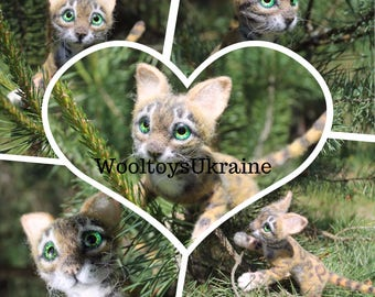 Bengal cat lover gift birthday sculpture Needle felted animal toys kitten dolls and miniatures figurines gift for her sister, Mom ,girls
