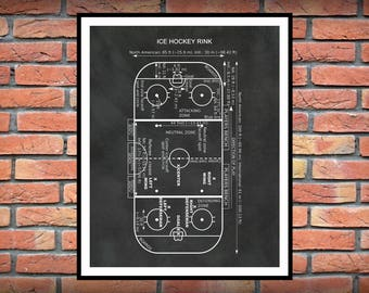 Ice Hockey Rink Diagram Vers #1 - Hockey Art Print - Hockey Player Decor - Hockey Poster - Hockey Gift - Hockey Patent