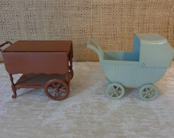 Vintage dollhouse furniture, Renewal dollhouse carriage, pram, tea cart, mid century