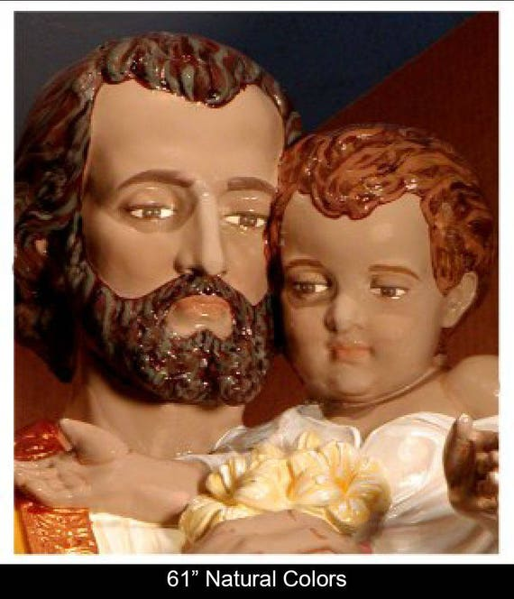 "St. Joseph and Infant Jesus 61"" Fiberglass Statue (SALE)"