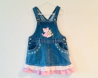 Vintage Blue Jean Overall Jumper Dress / Young Girls Size 4T Four Years / Pink Teddy Bear Denim Skirt Overalls