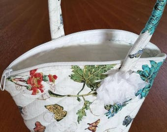 Botanical Purse, Zipper closure, Sturdy Handle, Embellishments