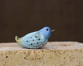 Small Blue Bird Primitive Clay and Wire Folk Art Style Sculpture Figurine, Bird Lover Gift, Shipping Included