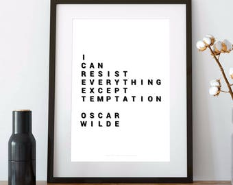 OSCAR WILDE poster, oscar wilde QUOTE, oscar wilde, i can resist everything except temptation, gift print, 8x10 print