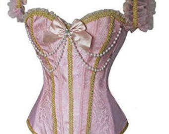 Pink Lace Up Corset Bustier with Adjustable Sleeves