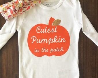 cutest pumpkin in the patch, cutest pumpkin, fall onesie, fall shirt