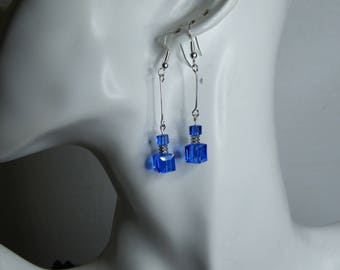 Cubes are sapphire blue Swarovski crystal earrings