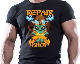Repair Shop. Men's black cotton t-shirt