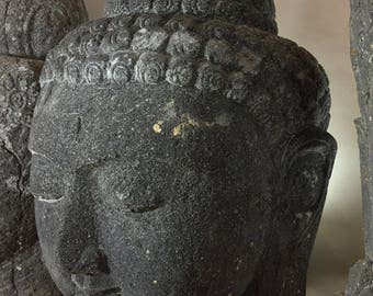 Large Carved Volcanic Stone Buddha Head Snail Head Design