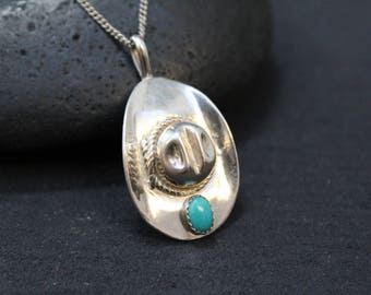 Sterling Silver and Turquoise Cowboy Hat Necklace, Turquoise Cowboy Hat, Sterling Cowboy Hat, Western Sterling Necklace