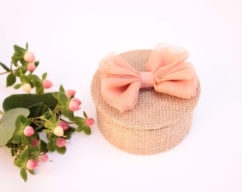 Preppy coral organza bow and burlap wedding ring.