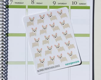 Blonde French Bulldog Stickers (Set of 20 Stickers)