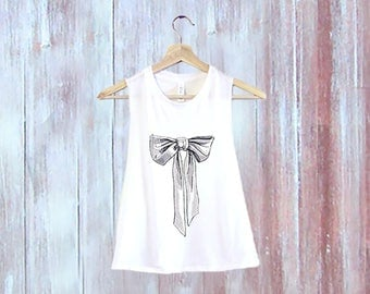 Bow Crop Top-Flowy Crop Top-Cropped Shirt-Loose Workout Crop Top-Stylish Crop Top