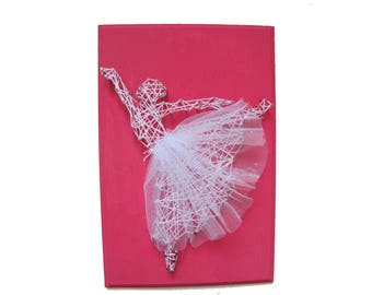 DIY Ballerina decor, Kid's craft, Nursery decor, Girl room decoration, gift for dancer, String art kit, DIY kit,